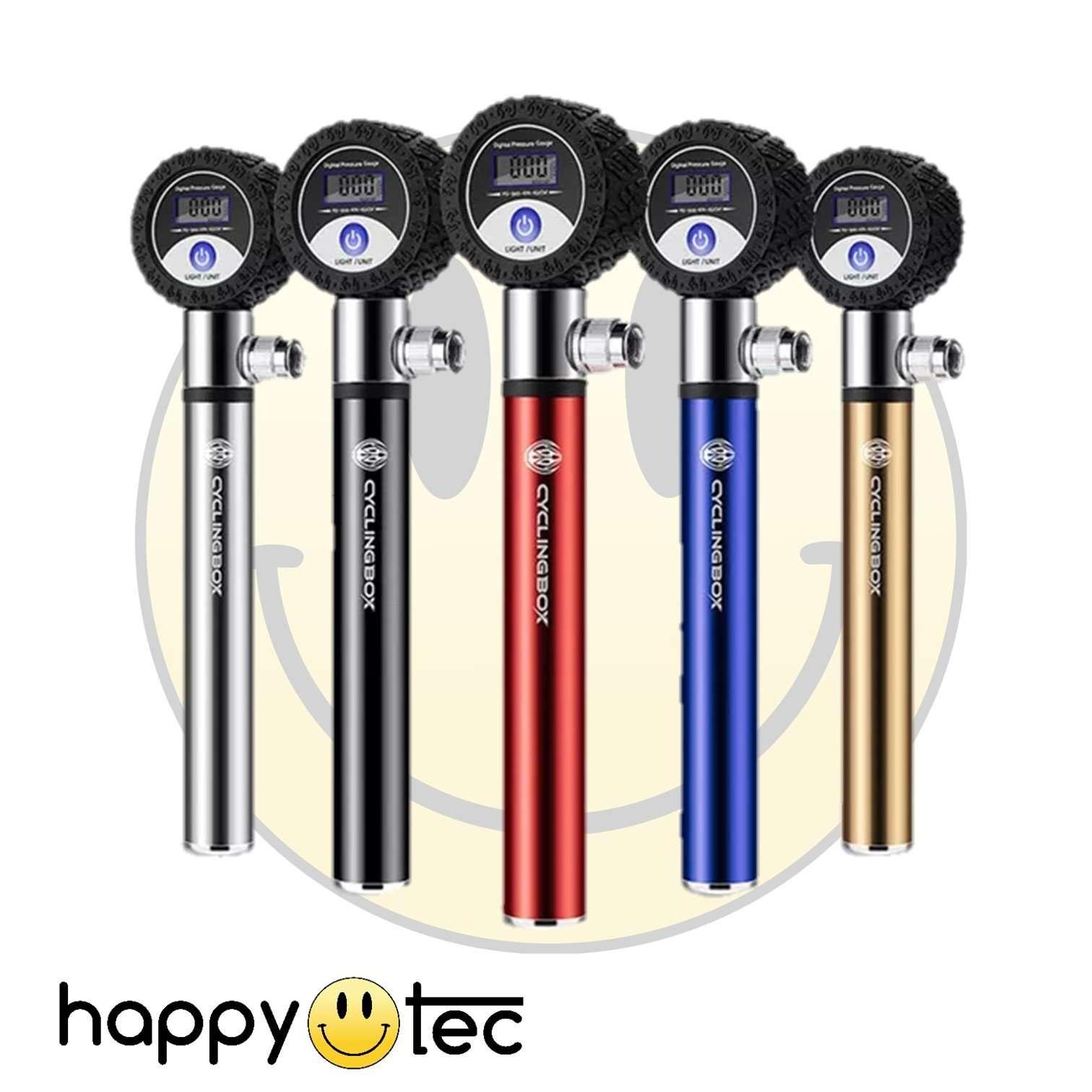 Pompa portatile per bici e monopattino ad alta pressione con manometro digitale Argento